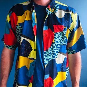 Retro 90s animal print collage short sleeve shirt